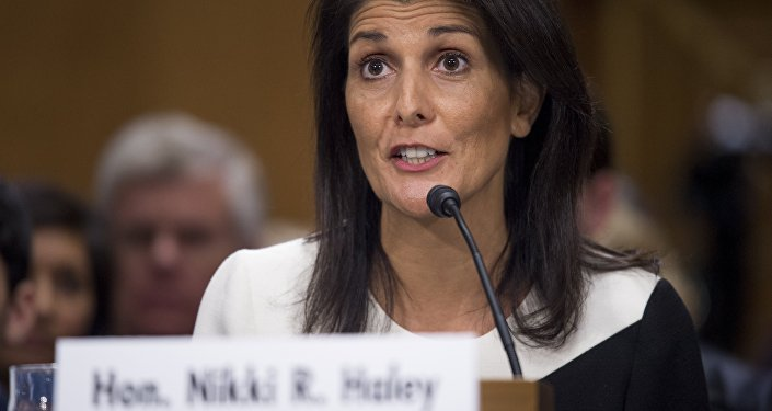 Nikki Haley testifies during her confirmation hearing for US Ambassador to the United Nations (UN) before the Senate Foreign Relations committee on Capitol Hill in Washington, DC