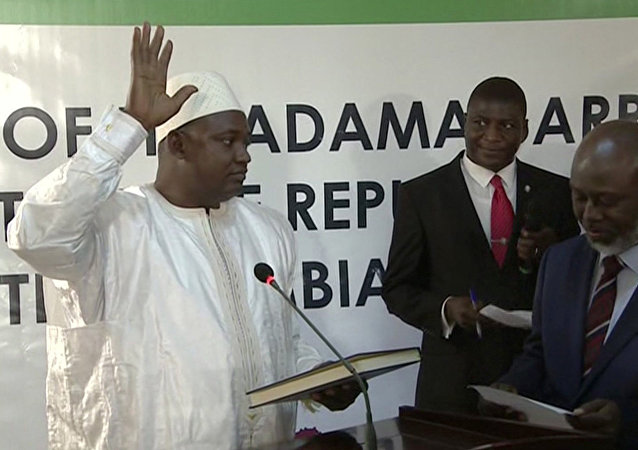 Adama Barrow is sworn in as President of Gambia at Gambia's embassy in Dakar Senegal in this image taken from TV Thursday, Jan 19, 2017