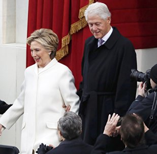 2016 Democratic presidential nominee and former Secretary of State Hillary Clinton (L) arrives with her husband former President Bill Clinton for the inauguration ceremonies swearing in Donald Trump as the 45th president of the United States on the West front of the U.S. Capitol in Washington, U.S., January 20, 2017