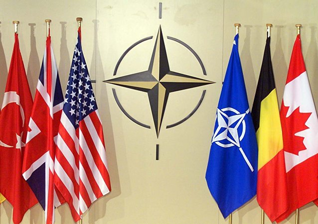 National flags in NATO headquarters in Brussels (File)