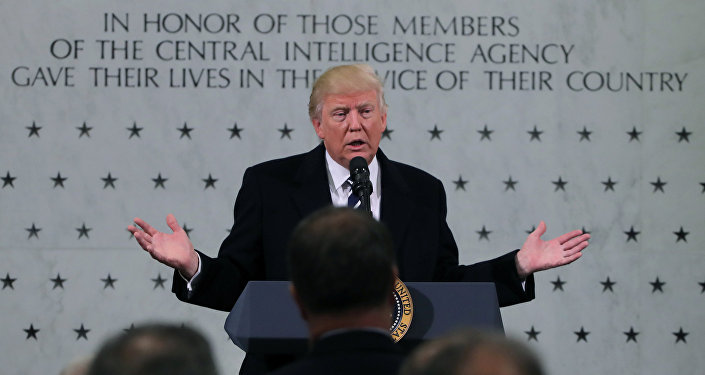 U.S. President Donald Trump delivers remarks during a visit to the Central Intelligence Agency (CIA) in Langley, Virginia U.S. January 21, 2017
