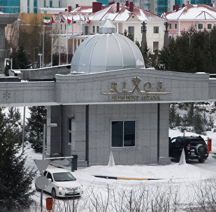 A car is parked in front of Rixos President Hotel, the venue that hosts Syria peace talks, in Astana, Kazakhstan, January 23, 2017.
