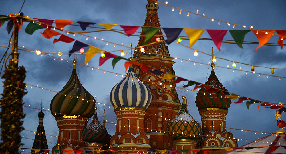 The Cathedral of Intercession of the Virgin (St.Basil's Cathedral) in Red Square, Moscow.