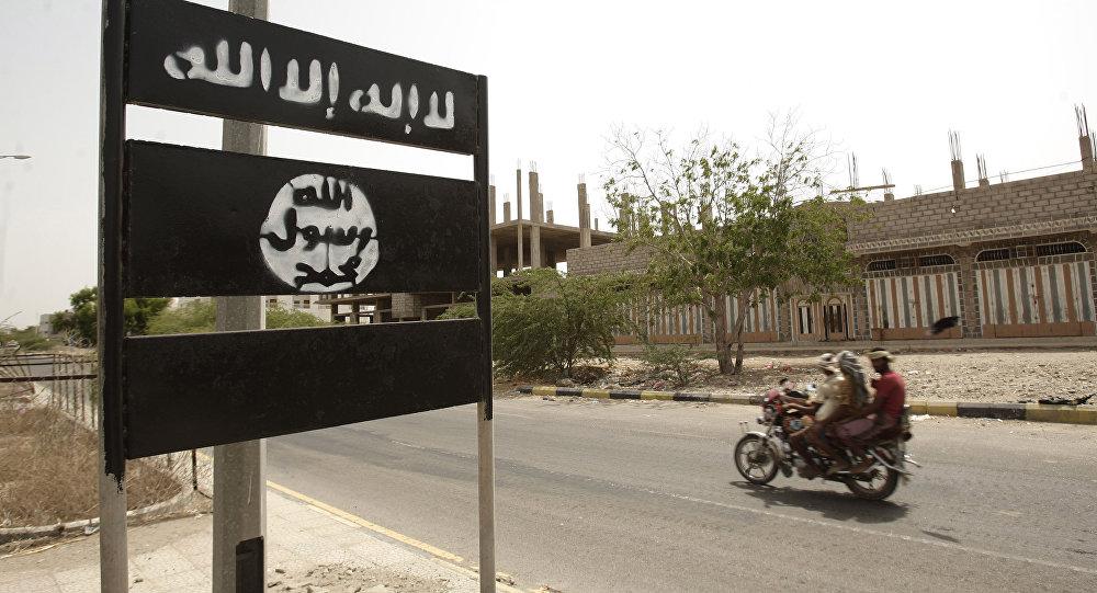 Al-Qaeda logo is seen on a street sign in Yemen. (File)