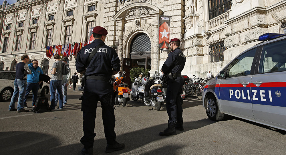 Austrian Special Forces Police officiers guard the Hofburg castle in Vienna