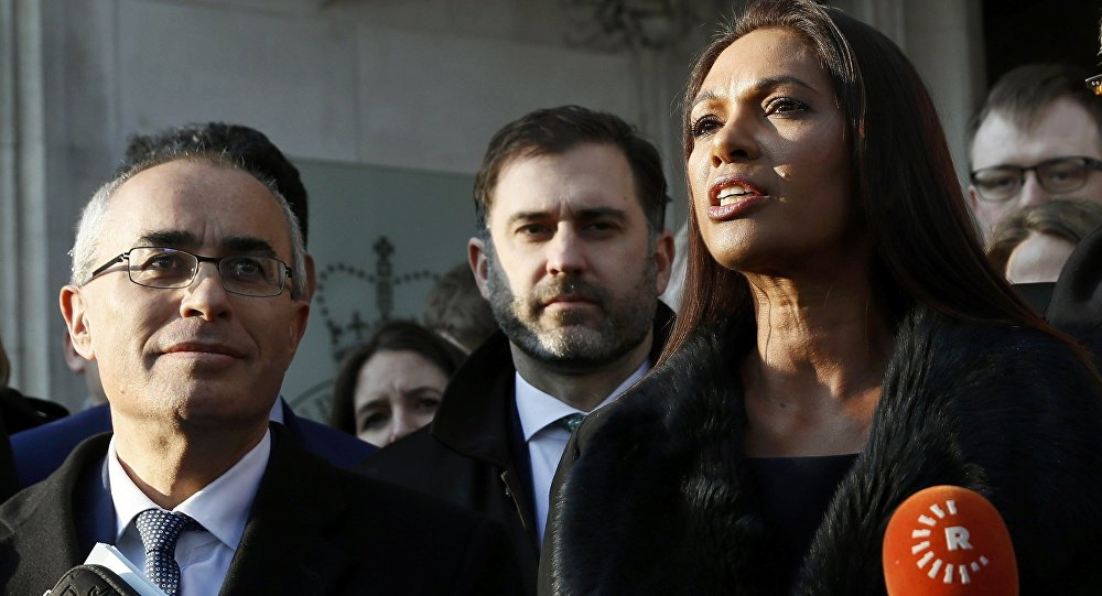 Gina Miller speaks outside the Supreme Court following the decision of a court ruling that Theresa May's government requires parliamentary approval to start the process of leaving the European Union, in Parliament Square, central London, Britain, January 24, 2017.