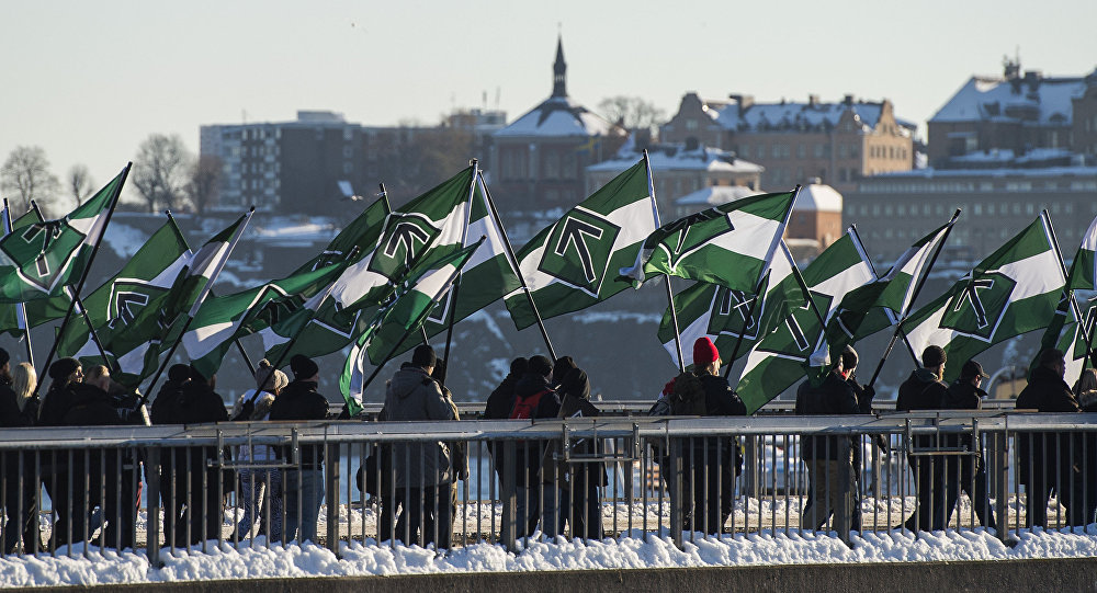 The neo-nazi Nordic Resistance Movement (Nordiska motstandsrorelsens) sympathisers demonstrate in central Stockholm  (File)