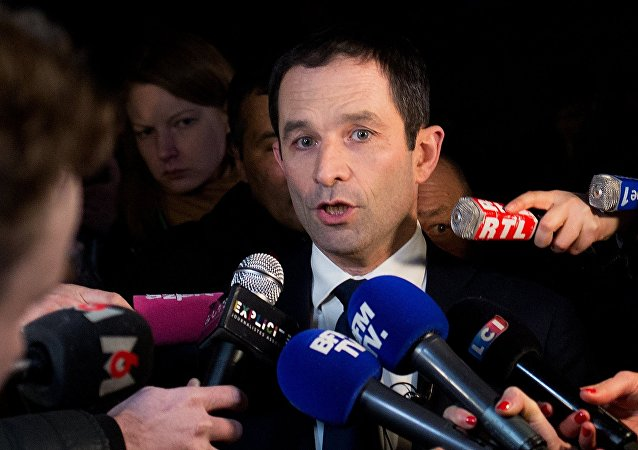 Benoit Hamon, winner of the first round of the Socialist presidential primary in France, speaks during a news conference at Peniche Le Quai in Paris
