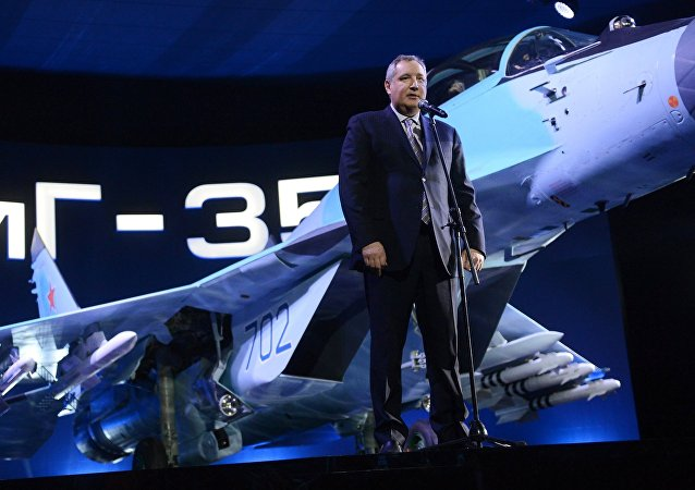 Russian Deputy Prime Minister Dmitry Rogozin speaks at the presentation of the MiG 35 aviation complex held on the territory of Industrial Complex 1 of the MiG Russian Aircraft Corporation in Lukhovitsy, Moscow Region