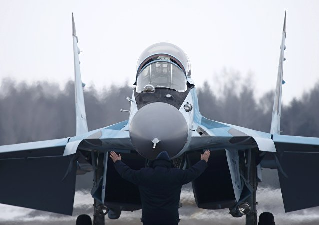 A new multi-role Russian MiG-35 fighter lands during its international presentation at the MiG plant in Lukhovitsy outside Moscow, Russia January 27, 2017