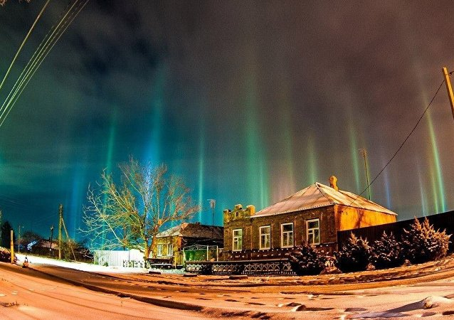 Mysterious light beams in Russia's Rostov-on-Don