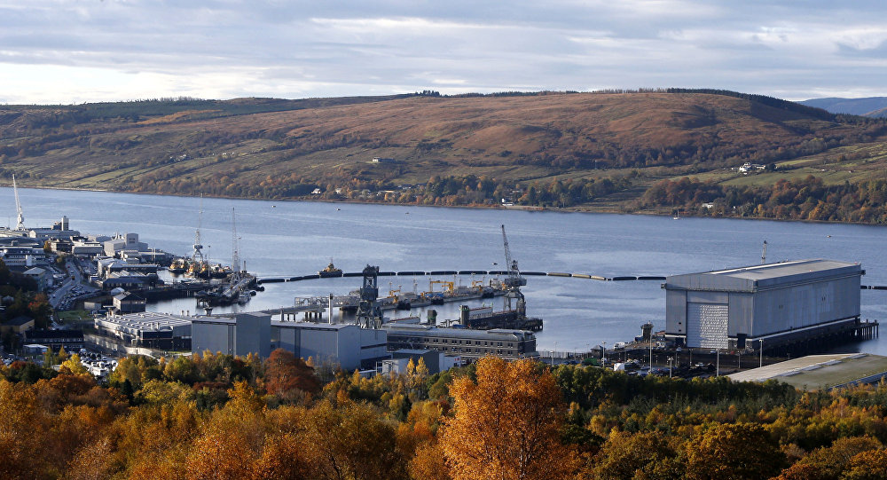 A picture shows a general view of HM Naval Base Clyde in Scotland