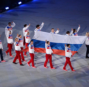 The Russian national flag carried out at the closing ceremony of the Sochi 2014 Winter Paralympics. (File)