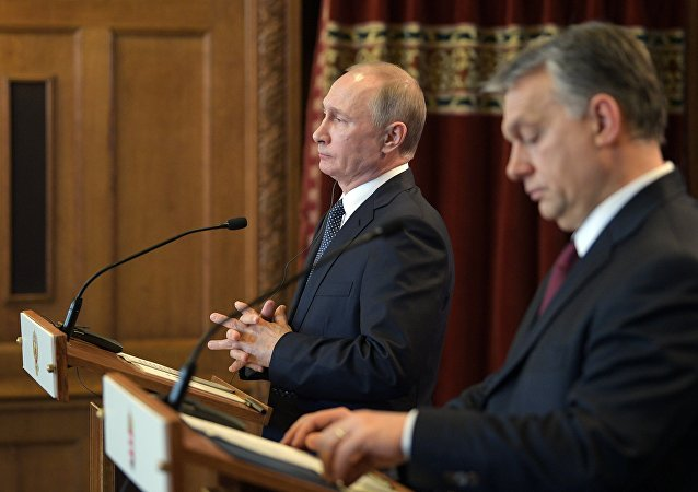 February 2, 2017. Russian President Vladimir Putin and Hungarian Prime Minister Viktor Orban, right, during a joint press conference following their meeting in Budapest