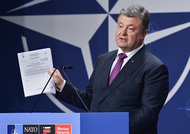 Ukrainian President Petro Poroshenko at the NATO Summit in Warsaw, Poland. file photo