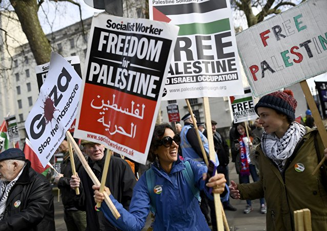Demonstrators hold placards as they protest against Israel's Prime Minister Benjamin Netanyahu's visit, opposite Downing Street in London, Britain, Fberuary 6, 2017