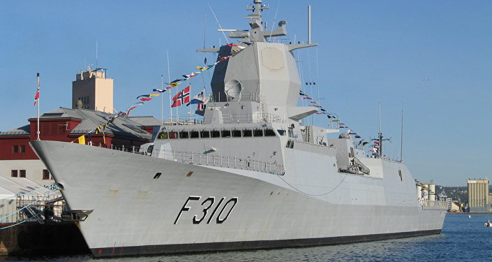 The frigate KNM Fridtjof Nansen at port in Oslo