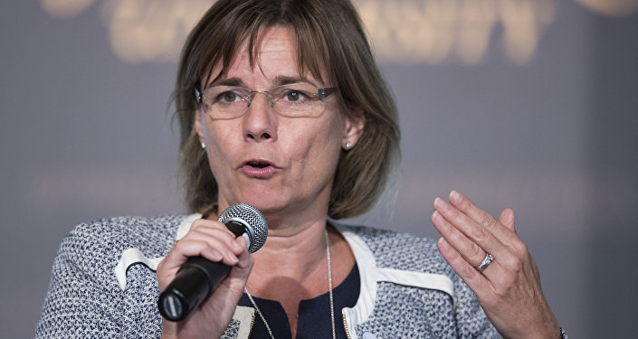 Deputy Prime Minister of Sweden and Minister for International Development Cooperation and Climate, Isabella Lovin speaks during the Our Ocean Conference in Washington, DC, September 16, 2016.