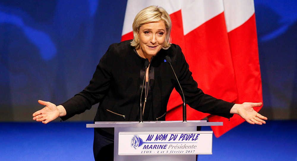 Marine Le Pen, French National Front (FN) political party leader and candidate for the French 2017 presidential election, attends the 2-day FN political rally to launch the presidential campaign in Lyon, France February 5, 2017.