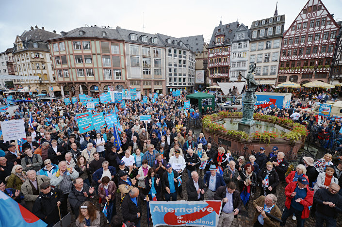 Supporters of Germany's anti-euro party Alternative for Germany (AfD, Alternative fur Deutschland) party