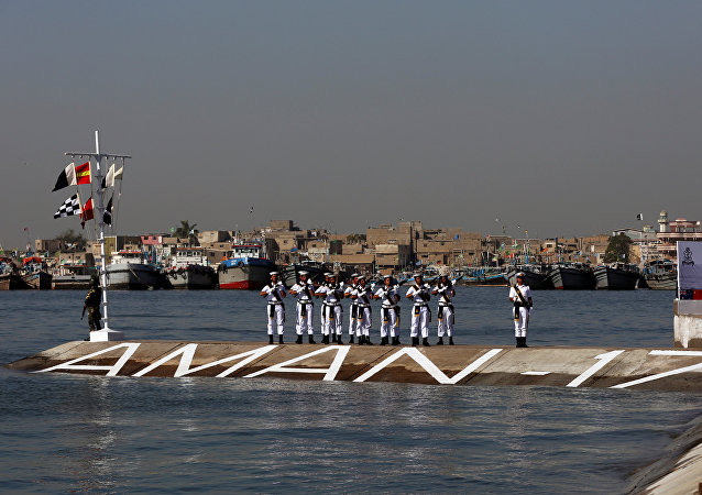 Pakistan Navy's firing squad take position during the flag-hoisting ceremony of Pakistan Navy's Multinational Exercise AMAN-17, in Karachi, Pakistan February 10, 2017.