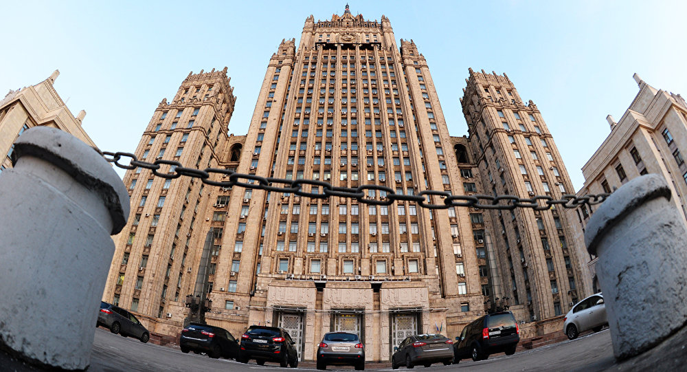 The Russian Ministry of Foreign Affairs on Smolenskaya-Sennaya Square in Moscow