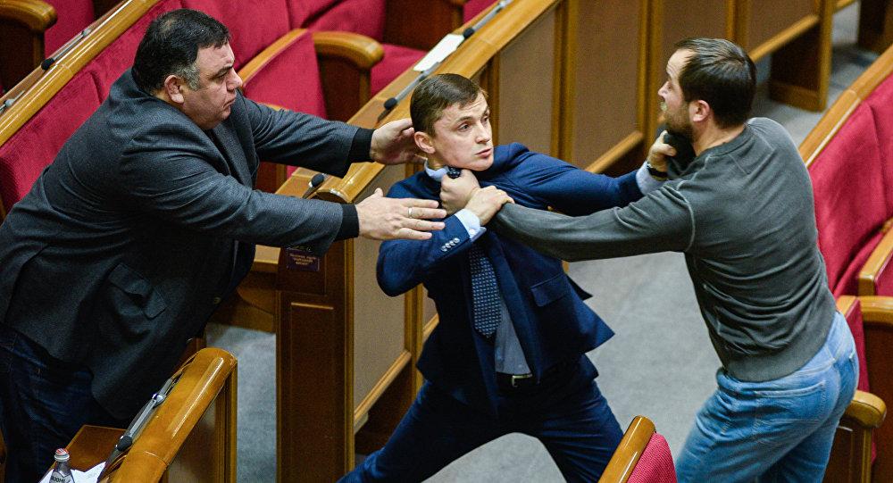MPs at a meeting of Ukraine's Verkhovna Rada, Kiev