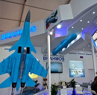 The BrahMos missile on display at the MAKS-2015 air show