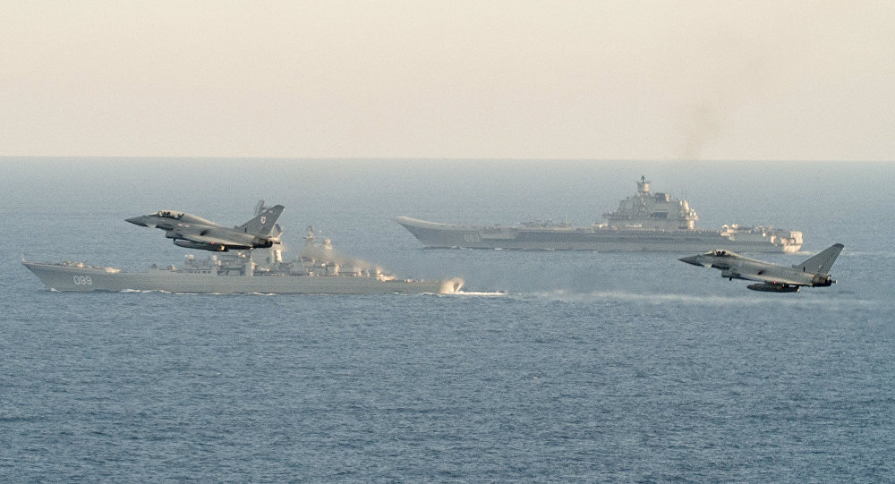 British Navy and Air Force escort Russian warships Admiral Kuznetsov and Pyotr Veliky
