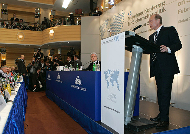 Russian President Vladimir Putin addressing the 43rd Munich Conference on Security Policy held at the Bayerischer Hof Hotel
