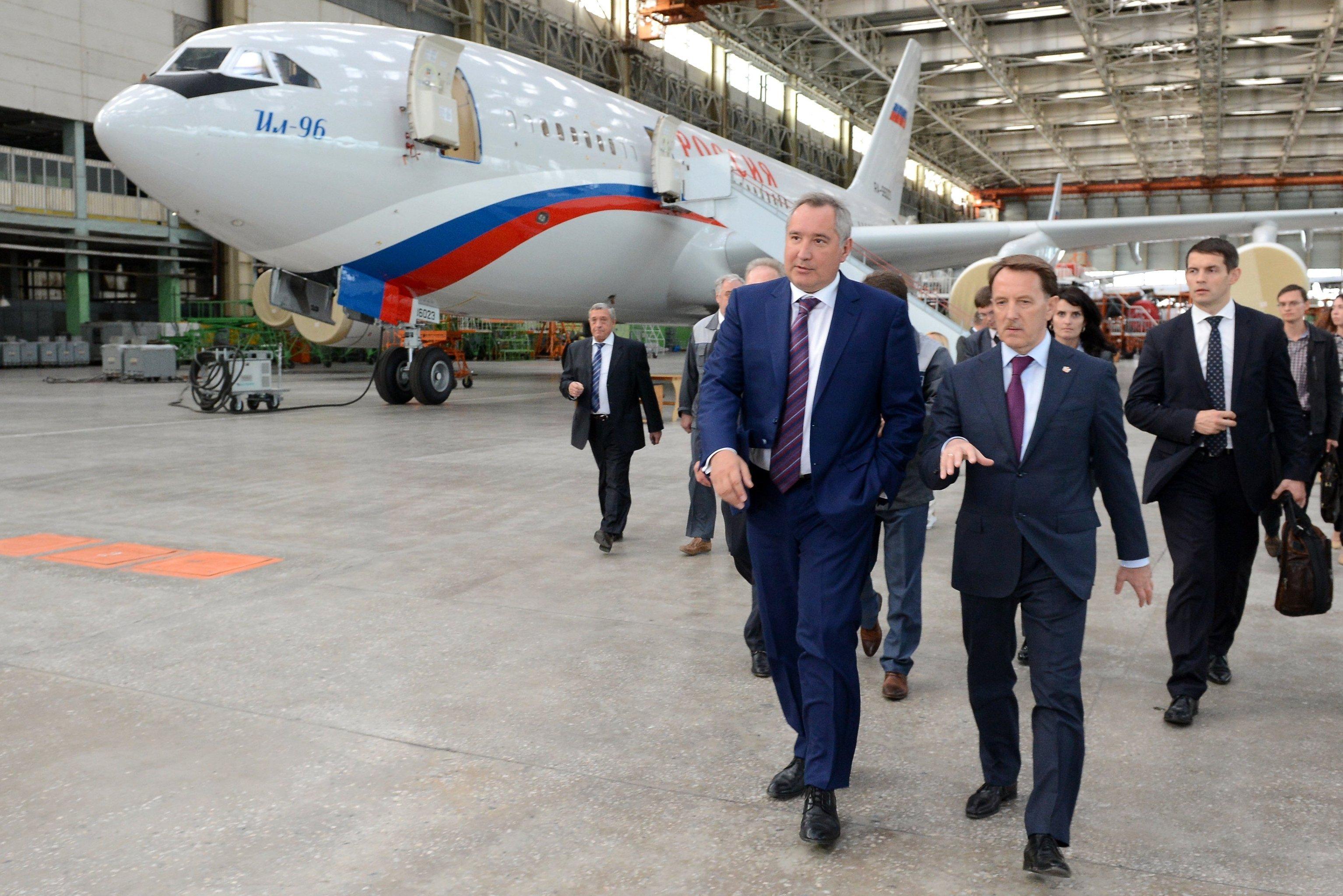 Russian Deputy Prime Minister Dmitry Rogozin, left, and Governor of the Voronezh Region Alexei Gordeyev visit the VASO Voronezh Aircraft Plant