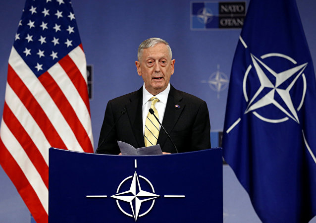 U.S. Defense Secretary Jim Mattis addresses a news conference during a NATO defence ministers meeting at the Alliance headquarters in Brussels, Belgium, February 16, 2017.