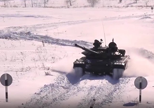 Russian Troops Prepare For Tank Biathlon