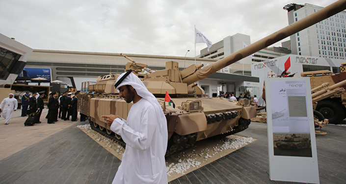 Emirati and other officials visit the International Defence Exhibition and Conference, IDEX, in Abu Dhabi, United Arab Emirates, Sunday, Feb. 22, 2015.