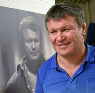 Athlete, actor and TV host Oleg Taktarov gives a talk in Moscow