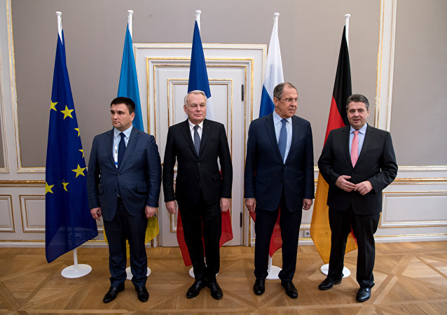 Foreign ministers of the so-called Normandy format (L to R) Ukraine's Foreign Minister Pavlo Klimkin, French Foreign Minister Jean-Marc Ayrault, Russian Foreign Minister Sergei Lavrov and German Foreign Minister Sigmar Gabriel pose for a photographer ahead talks at the 53rd Munich Security Conference (MSC) at the Bayerischer Hof hotel in Munich, southern Germany, on February 18, 2017