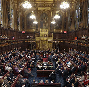 The House of Lords chamber in Parliament, London, Monday, Sept. 5, 2016.