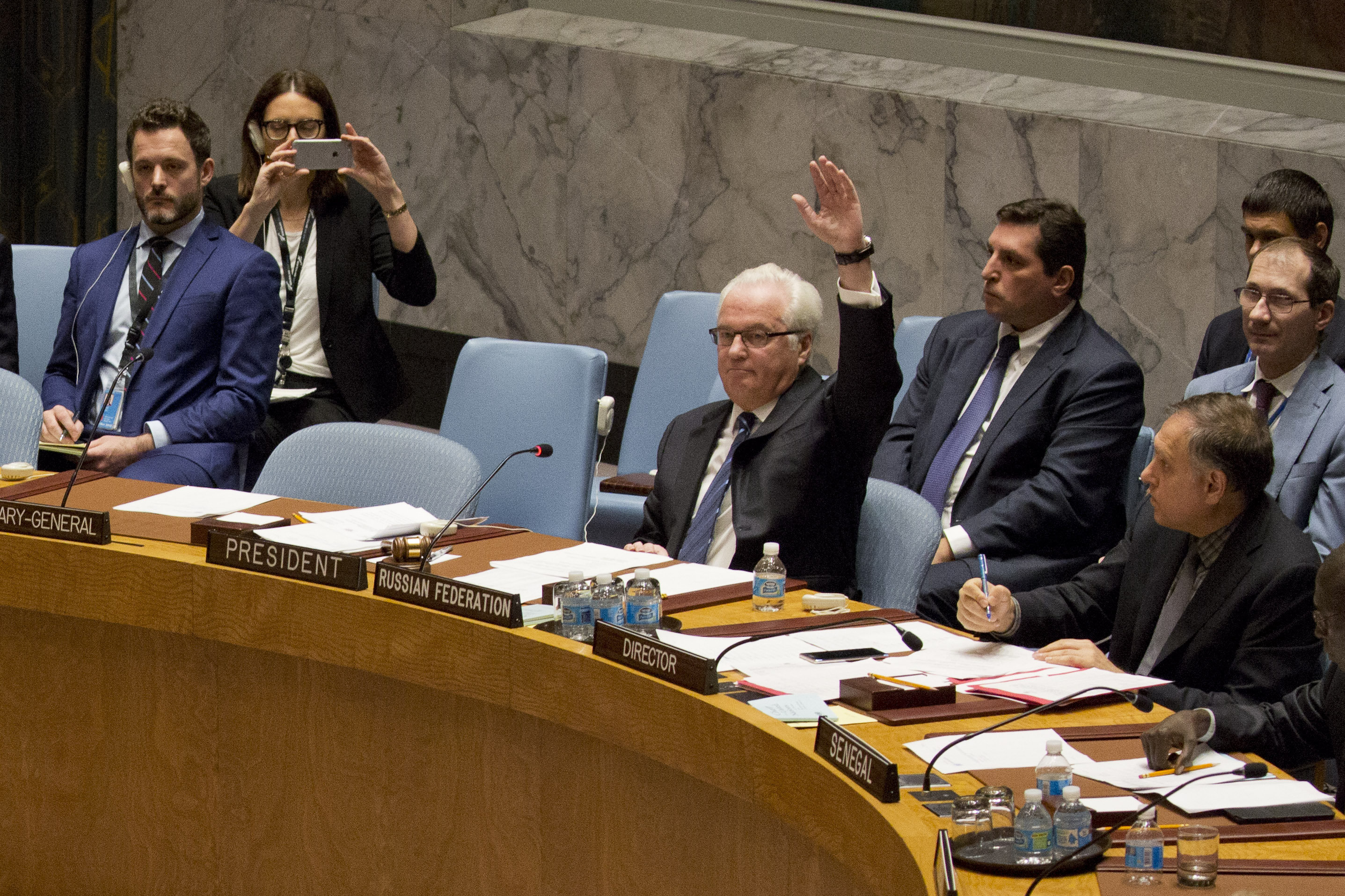 Russian ambassador to the United Nations Vitaly Churkin vetoes a Security Council vote on a French-Spanish resolution on Syria at the UN headquarters, October 8, 2016, in New York City