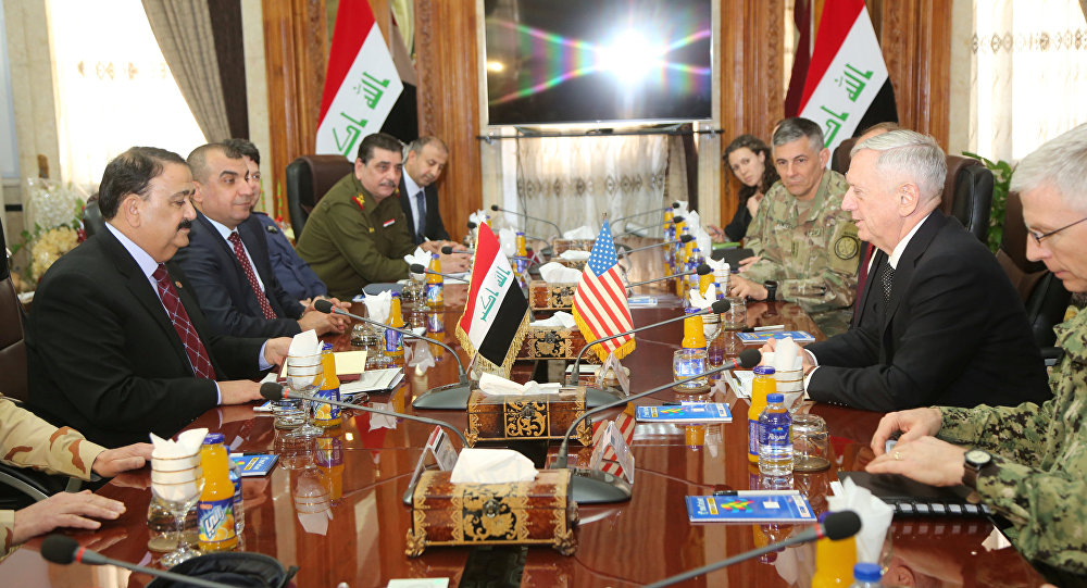 U.S. Defense Secretary Jim Mattis and Iraq's Defence Minister Erfan al-Hiyali meet at the Ministry of Defense in Baghdad, Iraq February 20, 2017