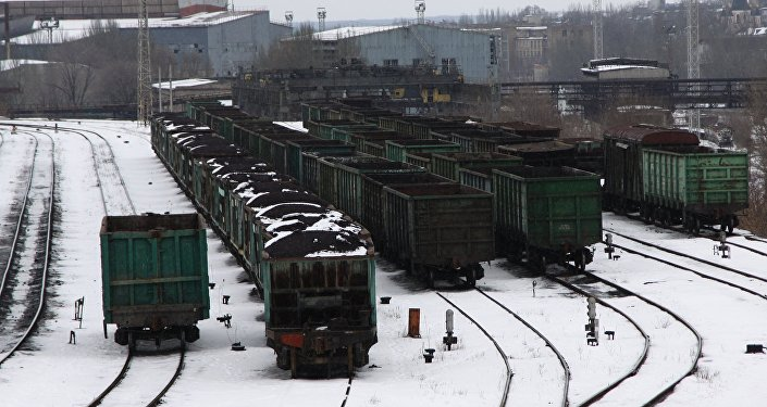 Train cars with coal at the Donetsk railway station. In early January, Ukrainian radicals who earlier participated in the fighting in the Donbass started a blockade against the Donetsk People's Republic