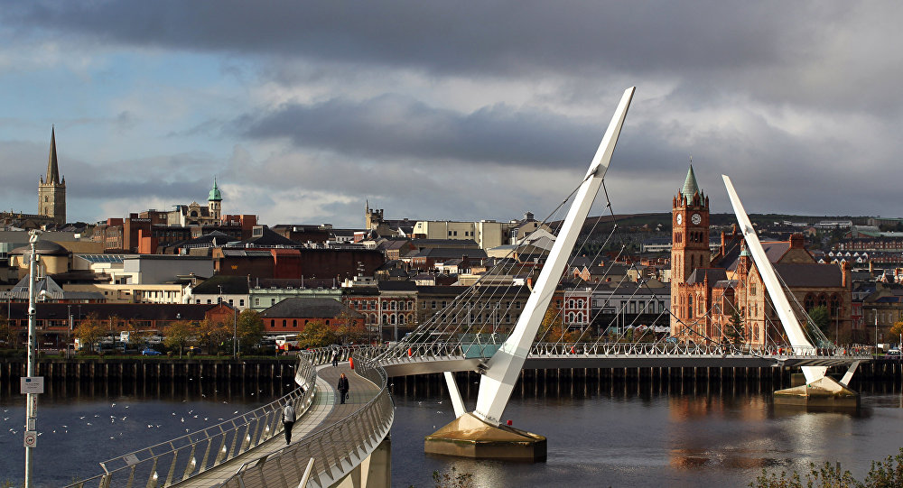 A general view over the Peace Bridge of the city of Londonderry from Ebrington Square, the venue of the 2013 Turner Prize, in Northern Ireland