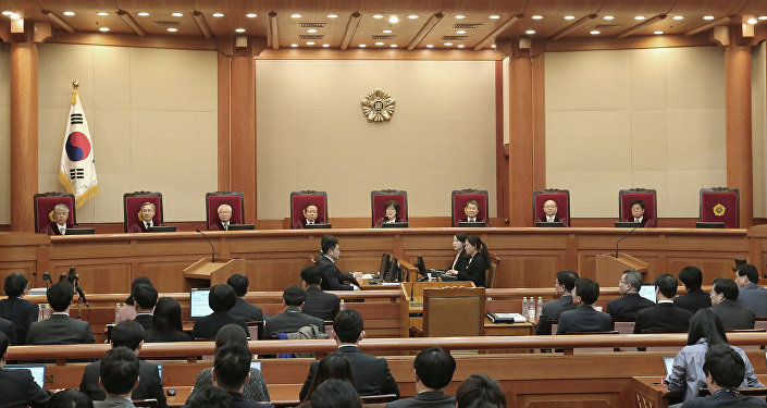 Judges of the Constitutional Court sit during the final hearing on whether to confirm the impeachment of President Park Geun-hye at the Constitutional Court in Seoul, South Korea, Febuary 27, 2017