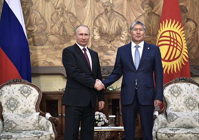 February 28, 2017. Bishkek, Kyrgyzstan. From left: Russian President Vladimir Putin meets with President of Kyrgyzstan Almazbek Atambayev at the Ala-Archa residence