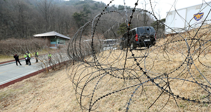 A barbed-wire fence is set up around a golf course owned by Lotte, where the U.S. Terminal High Altitude Area Defense (THAAD) system will be deployed, in Seongju, South Korea, March 1, 2017