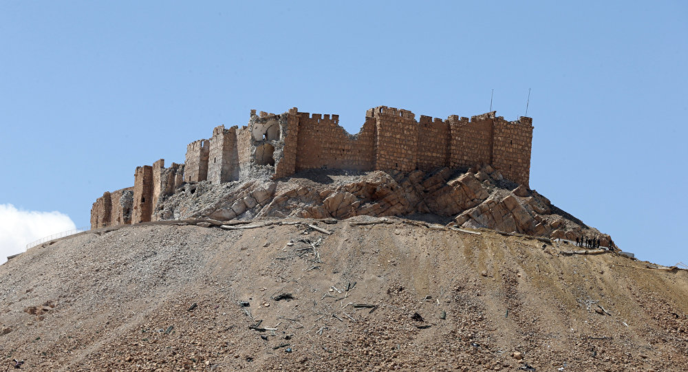 View of Fakhr-al-Din al-Ma'ani Castle, known as Palmyra citadel, on a hilltop in the ancient city of Palmyra (File)
