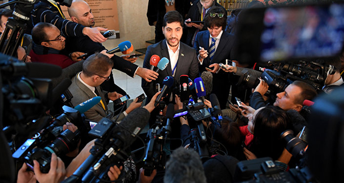 A member of the rebel delegation Osama Abu Zeid speaks to the media during the second day of Syria peace talks at Astana's Rixos President Hotel on January 24, 2017
