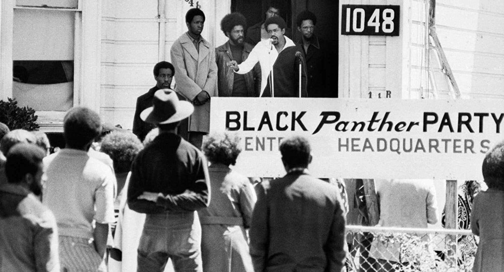 Black Panther Party Chairman Bobby Seale  speaks outside of Party headquarters,1971