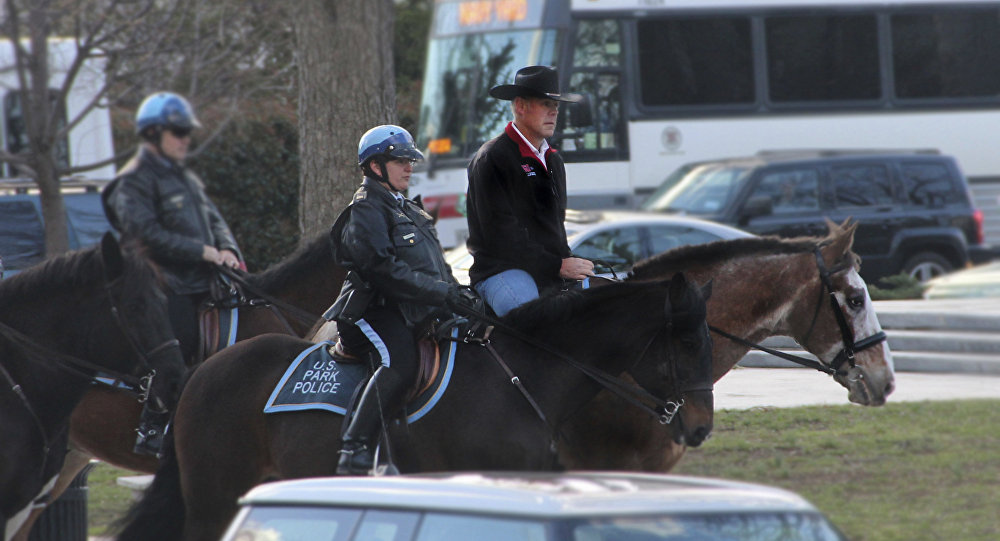 Interior Secretary Ryan Zinke arriving for his first day of work at the Interior Department in Washington, Thursday, March 2, 2017, aboard Tonto, an 17-year-old Irish sport horse