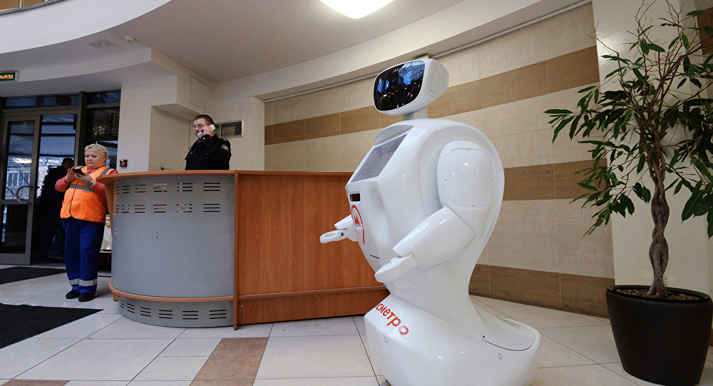 Robot Metrosha in the central office of Moscow Metro in Prospekt Mira station