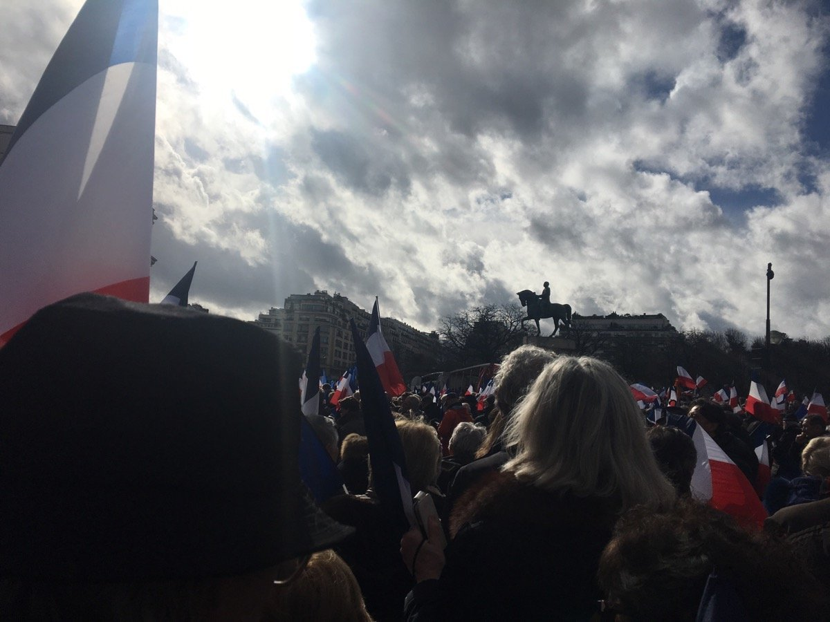Thousands of supporters of French presidential hopeful Francois Fillon attending a rally to support the politician in Paris on March 5, 2017.